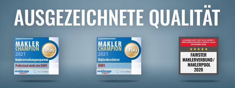 Der Deutsche Maklerverbund wurde mehrfach ausgezeichnet, unter anderem als Fairster Maklerpool, BiPRO Top-Anwender und Top Dienstleister bei Proven Expert