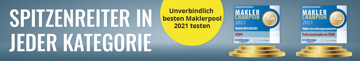 """Deutscher Maklerverbund ist Makler Champion 2021 in den Kategorien """"Bestes Maklerverwaltungsprogramm"""" und """"Bester Dienstleister"""""""