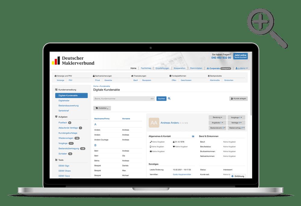 Die digitale Kundenakte im Maklerverwaltungsprogramm Professional works
